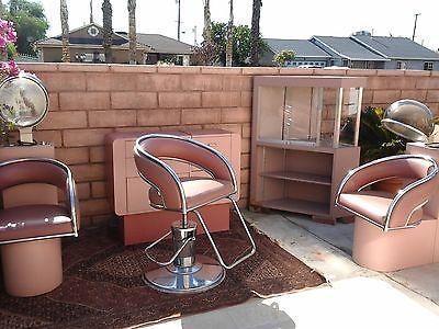 Captivating Vintage Salon Furniture   Hair Dryer, Barber Chair, Dresser, Cabinet   Cute  Pink