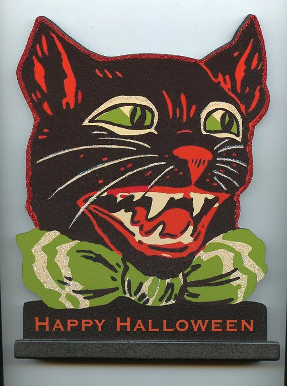 Halloween black cat w. fangs wood stand up plaque Decor. mounted on base vintage