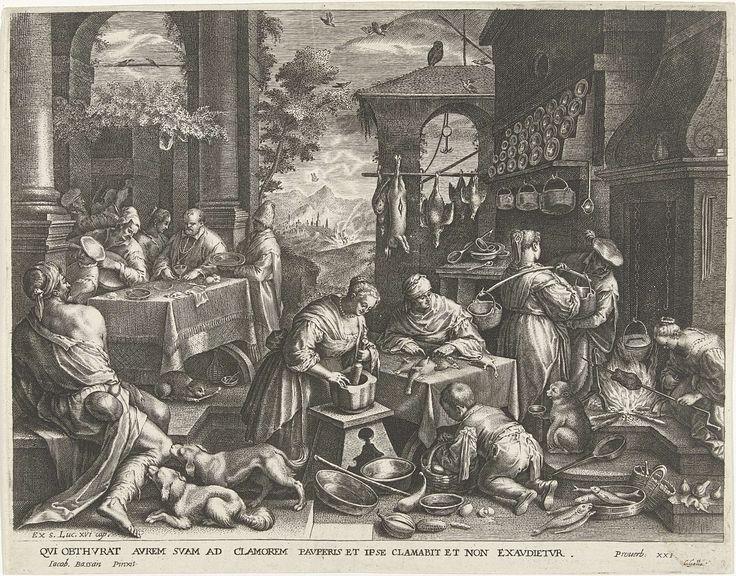 Cornelis Galle (I)   Gelijkenis van de rijke man en de arme Lazarus, Cornelis Galle (I), Johann Sadeler (I), c. 1586 - c. 1650   De rijke man laat zich in zijn huis rijkelijk bedienen. In de keuken wordt een uitgebreid feestmaal bereid. Voor de deur van het huis ligt de arme Lazarus, een bedelaar, te verhongeren. Twee honden likken zijn wonden. Op de achtergrond is in een landschap te zien hoe de rijke man in het vuur van de hel terechtkomt, en Lazarus ten hemel opgenomen wordt.
