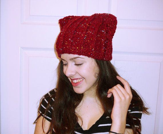 Hey, I found this really awesome Etsy listing at https://www.etsy.com/listing/215338980/ear-hat-red-chunky-hat-knitted-cat-hat