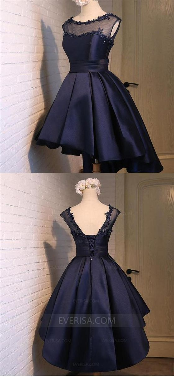 03511c191a0c Navy Blue Sleeveless Homecoming Dresses,High Low Cocktail Dresses #NavyBlue  #Homecoming #highlow
