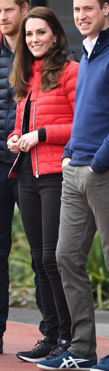 Who made  Kate Middleton's red down jacket, jewelry, and black sneakers?