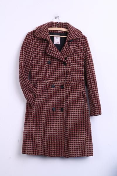 VERISSAGE Womens 14 L Coat Check Double Breasted Wool Mulicolor - RetrospectClothes