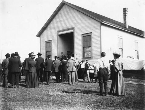 """[Opening day speech of the """"Great Richmond Fair"""" in front of Agricultural Hall] - City of Vancouver Archives"""