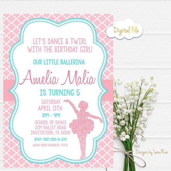 Ballerina Invitation Ballet Birthday Invitation Ballerina