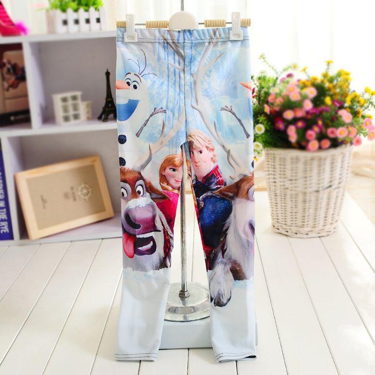 Горячая распродажа новые 2016 новорожденных девочек осень-летние брюки леггинсы для девочек леггинсы анна эльза длинные хлопковые брюки для девочек 3D розничные