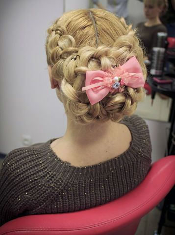 wedding hairstyle with pigtails and pink bow hot sexy