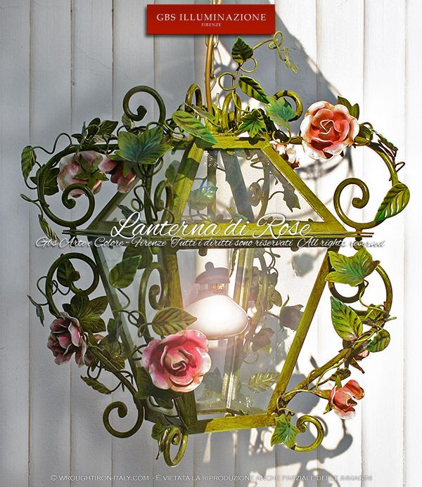 Lantern with roses. Handmade wrought iron Lamp by GBS. Made in Italy. Design: Gianni Cresci