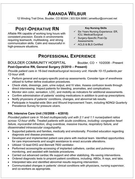 med surg rn resume sample resume for post op nurse - Rn Resume Example