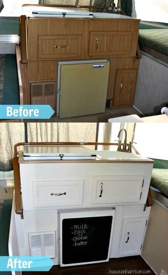 Pop Up Camper Kitchen Makeover:  We gave the cabinets a new coat of paint, changed out the hardware, installed a new faucet, and replaced the counter tops.: