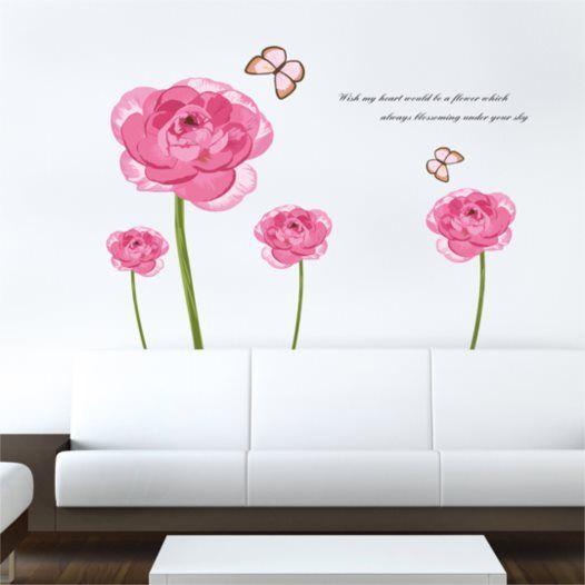 Hemdekor - Väggdekor Rosa blomster och fjäril