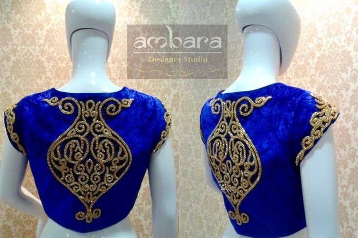 Dark blue blouse with heavy stone work embroidery on the back