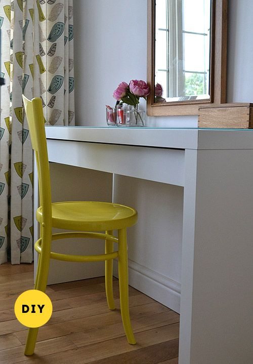 """YORKSHIRE BEDROOM: Old chair refinished and painted using Dulux's """"Lemon Drizzle"""""""