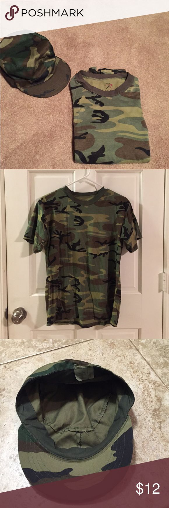 Boys XL Camo tee shirt with Camo Hat An XL Boys Rothco brand Camo tee shirt- 60% cotton 40% polyester/ and a cotton/polyester cap size med (7 1/4).  Camouflage colors are green, tan, black and brown. From a smoke free/pet free home. Rothco Shirts & Tops Tees - Short Sleeve