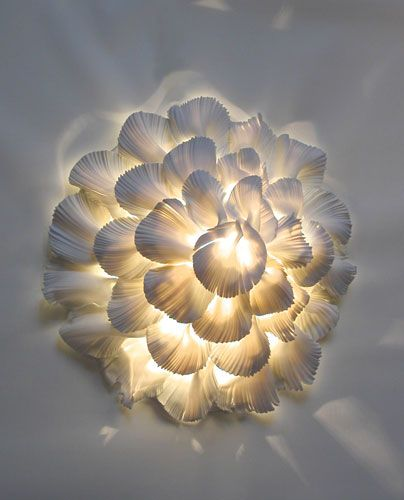 Looks like my  Oyster Mushroom style tile but in a flower form with light! Way cool!!!!   Light through Porcelain - Contemporary Applied Arts: Margaret O'Rorke