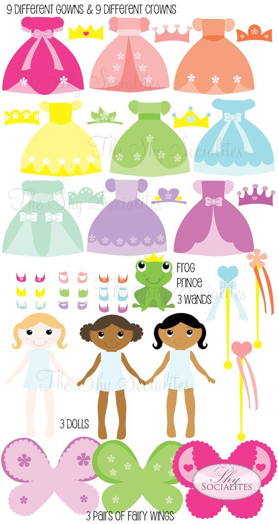 Fairy Princess Clipart, Mix and Match Clipart set, Princess Clip-Art, Dress-Up Dolls Clipart, Dress-up, Dress-up Party, Clip-art Dolls on Etsy, $5.00