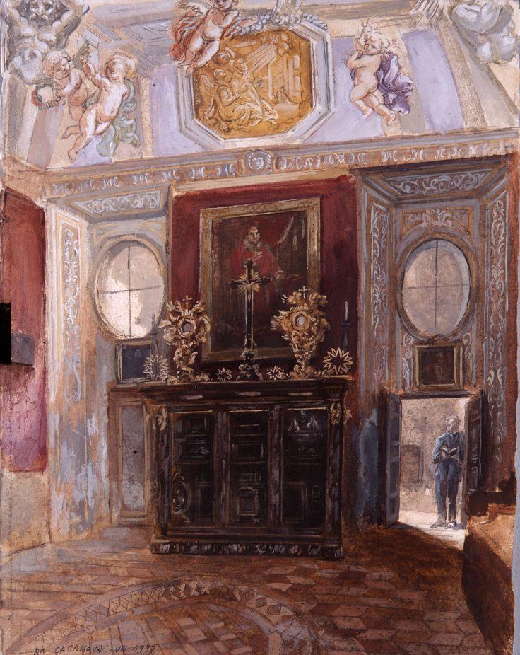 Oratoire de Rome, les chambres de Saint Philippe Néri; 35x30 cm; tempéra sur papier; 1994; collection Oratoire de Vicence, Italie