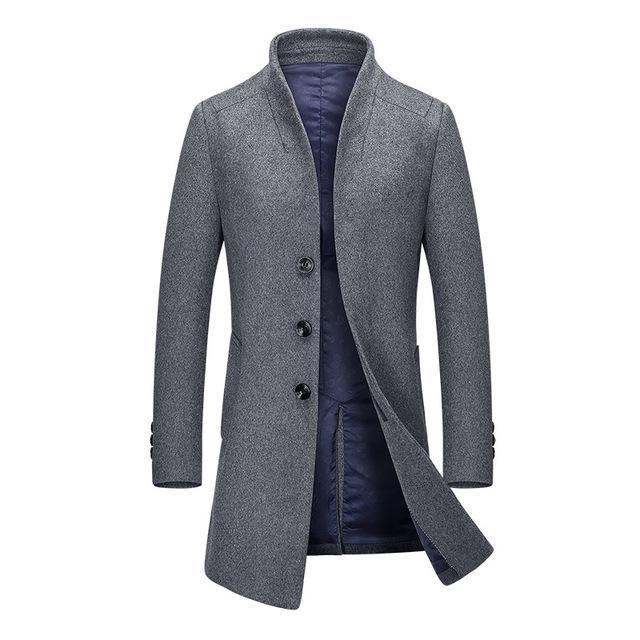 Winter Autumn Slim Fit Trench Jacket Mens Coat Outwear Male Business Jacket Cardigan Burgundy XXXL