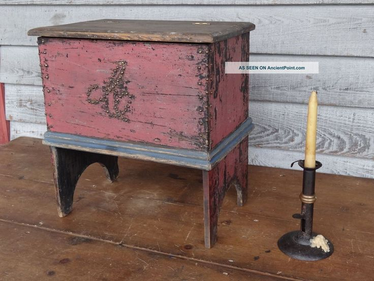 1800s Primitive Miniature Blanket Chest Red And Blue Paint Folk Art Nr