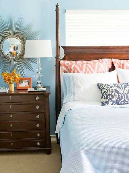 orange accents for bedroom with light blue walls