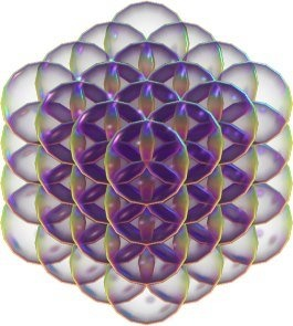 If you put spheres around each tetrahedron of a 64 tetrahedron grid you get a 3D Flower of Life. All the spheres overlap, are perfectly space-filling and create 84 petal shapes called the Vesica piscis. The combination of tetrahedrons with perfectly fitting spheres around them is the fundamental pattern for the universe to create itself on all scales according to Nassim Haramein's unified field theory - an infinite holofractalgraphic universe!http://theresonanceproject.org/