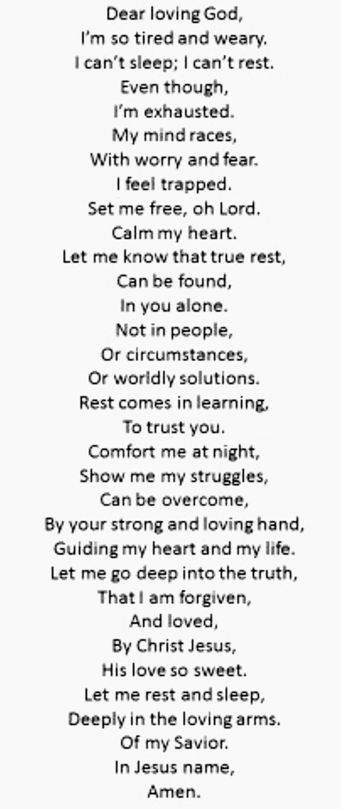 Prayer for rest and sleep