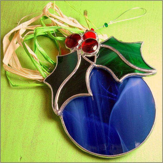 FREE+POSTAGE++Stained+glass+Christmas+Bulb+by+RainbowStainedGlass,+€18.00