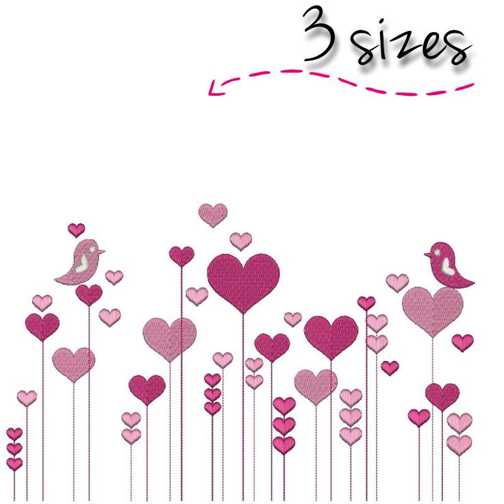 Embroidery Machine Design hearts designs birds digital instant download love pattern hoop file t-shirt pes by SvgEmbroideryDesign on Etsy