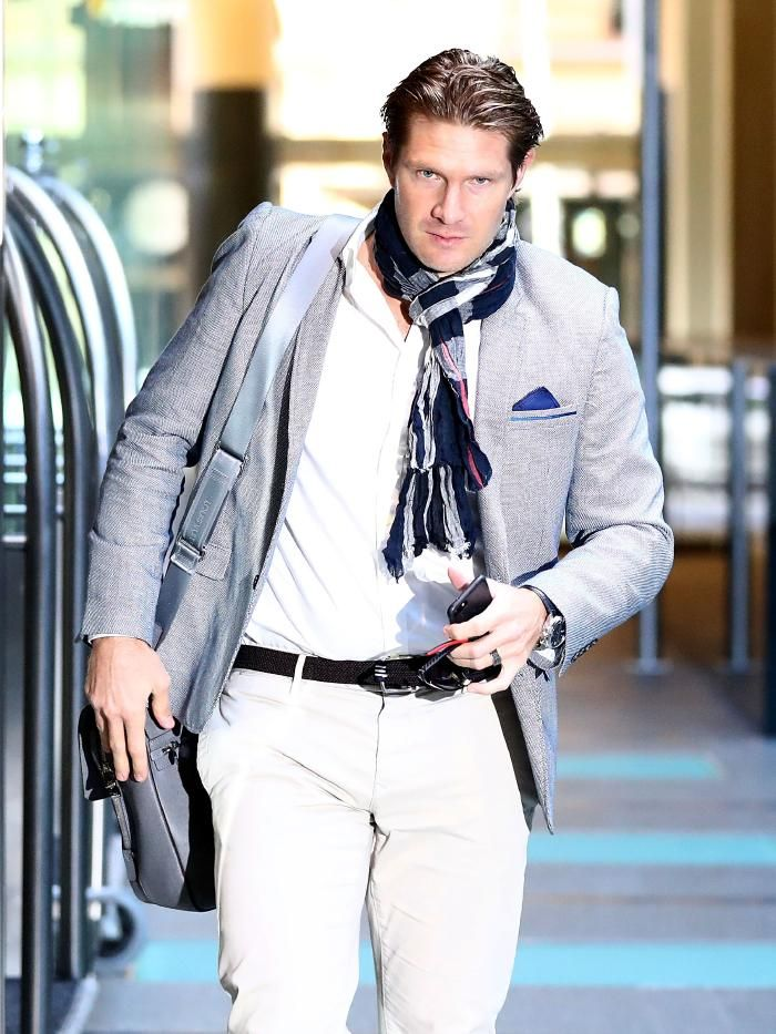 Shane Watson arrives at the players' meeting to discuss the pay dispute on Sunday.