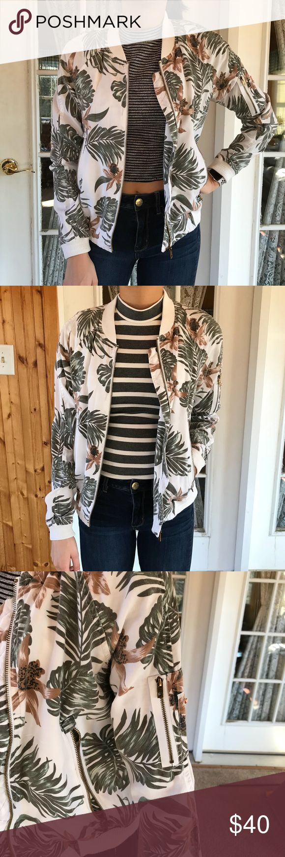 Superdry Floral Bomber Jacket Comfortable, lightweight bomber jacket. Great for layering. Both shirts styled in the photos are also on sale separately! Superdry Jackets & Coats