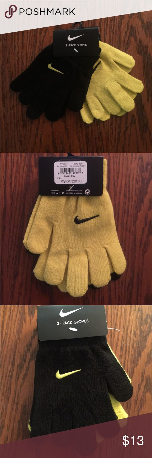 NIKE ONE SIZE GLOVES Nike Gloves that fit size child 8-20 boys or girls very stretchy!  Smoke free pet free home.  Ships in 24hrs with tracking number!  Delivered to your front door!  Price firm unless bundled Nike Accessories Mittens