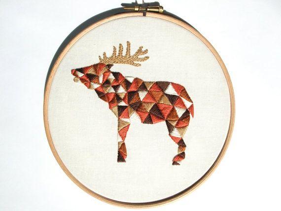 """Geometric Embroidery Design PDF Pattern """"Geo Stag"""" - Deer Hart Hoop Art - Instant Digital Download - Rust Red Brown Beige Ecru"""