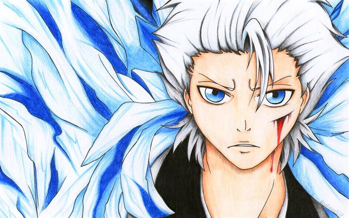 Télécharger fonds d'écran Hitsugaya Toushirou, 4k, les personnages de l'anime, du manga, de l'eau de Javel