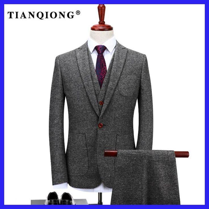 TIAN QIONG Custom Made Grey Tweed Formal Men Suit Slim Fit Classic Stylish Custom Men Tuxedo 3 Piece Wedding Tailor-made Suits