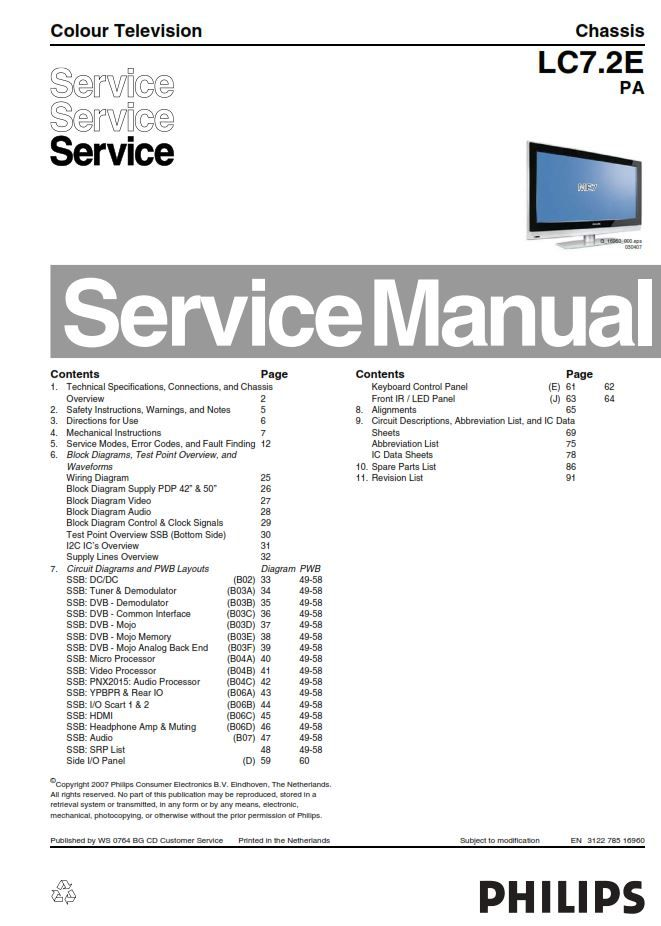 Philips 42pfp5532d 50pfp5532d Plasma Tv Service Manual Tv Services Plasma Tv Philips