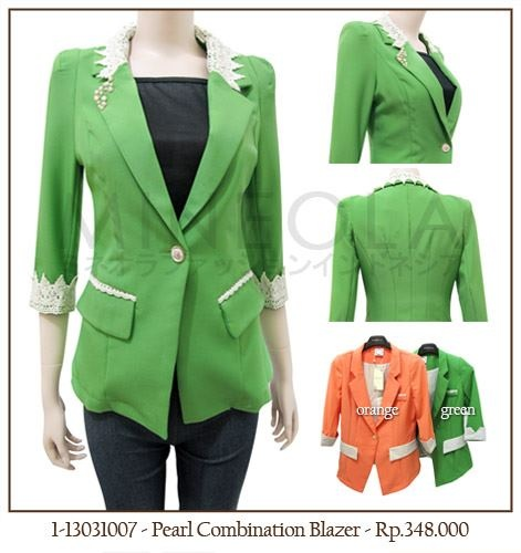 #MINEOLA Pearl Combination Blazer Green. Also available in orange color. Get this for only Rp.348.000,-   Fabrics: polyester Product code: 1-13031007 [Size M] Bust: 84cm - Length: 57cm - Sleeve: 80cm... [Size L] Bust: 88cm - Length: 58cm - Sleeve: 84cm