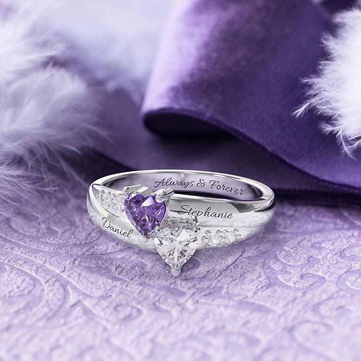 Personalize this ring with special birthstones and engravings to create a one-of-a-kind ring just for her. Link in bio! . . . #promisering #jewelry #ring #hearts #inlove #valentine #cute #boyfriend #girlfriend #twins #purple #family #photography #relationshipgoals