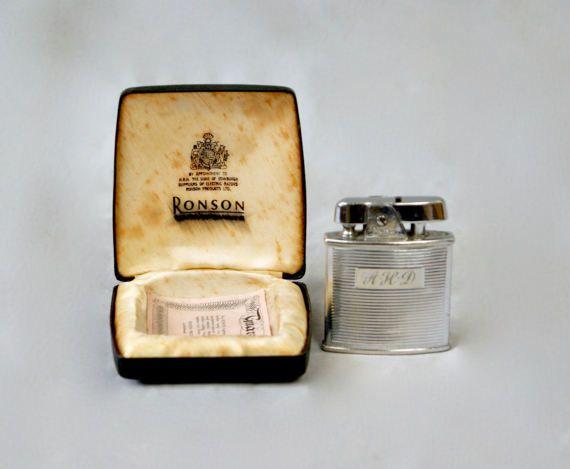 RONSON Lighter Vintage 1960s Cigarette Lighter in Original Box