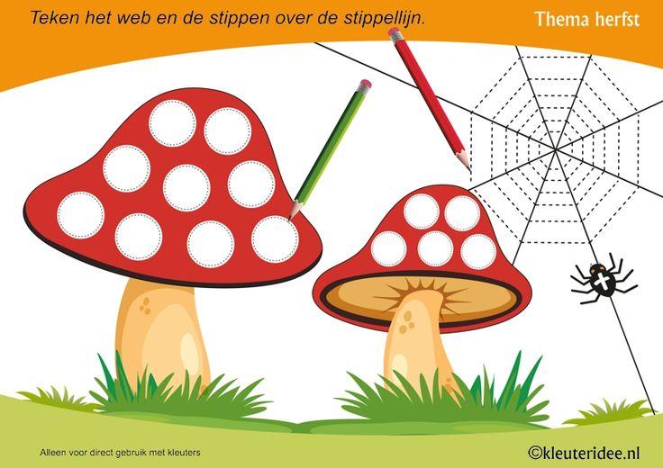 Schrijfpatroon paddenstoel voor kleuters, thema herfst, juf Petra van kleuteridee, Autumn preschool writing pattern mushroom, free printable.