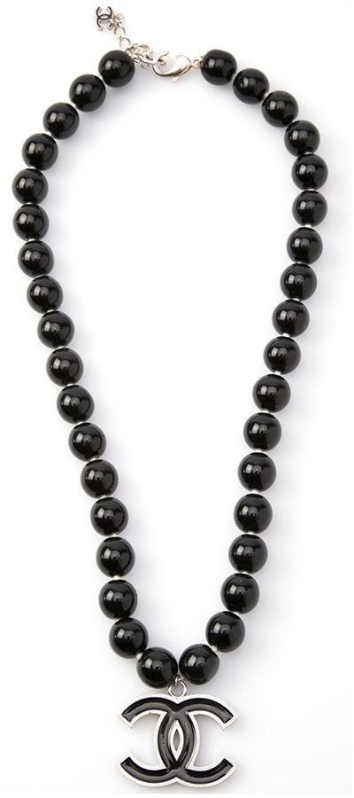 Chanel black pearl necklace on shopstyle.com