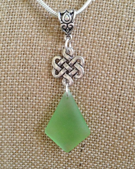 Celtic Silver and Sea Glass Necklace by joytoyou41 on Etsy, $28.00