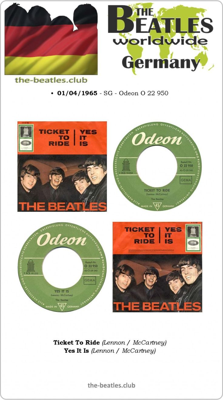 The Beatles Germany Single Odeon O 22 950 Ticket To Ride Yes It Is Lyrics Vinyl Record Discography