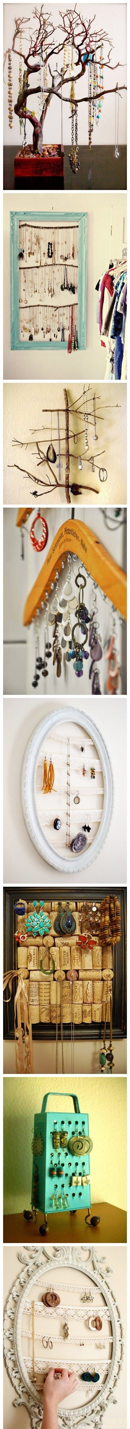 Fun way to organize jewelry instead of tossing them on the dresser and wondering why I can't find anything!  Love the wooden hanger idea.
