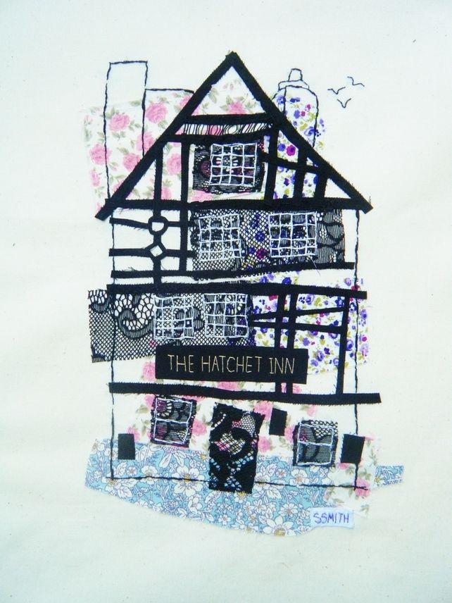 The Hatchet Inn fabric collage £90.00