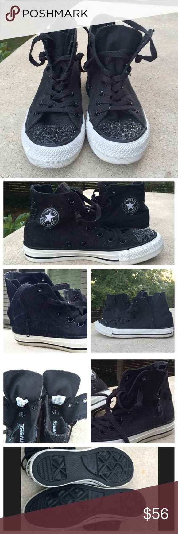 🌑RARE Sparke Toe CONVERSE🌑🍭 NEW RARE black hi-top CONVERSE with silver and black sparkes on the toes and in back of the heels.  Love these, but got the wrong size.  Womens size UK 4, US 6.  No box included. Converse Shoes Sneakers