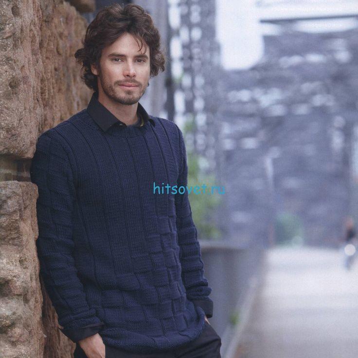 Мужской пуловер спицами мериносовой шерсти
