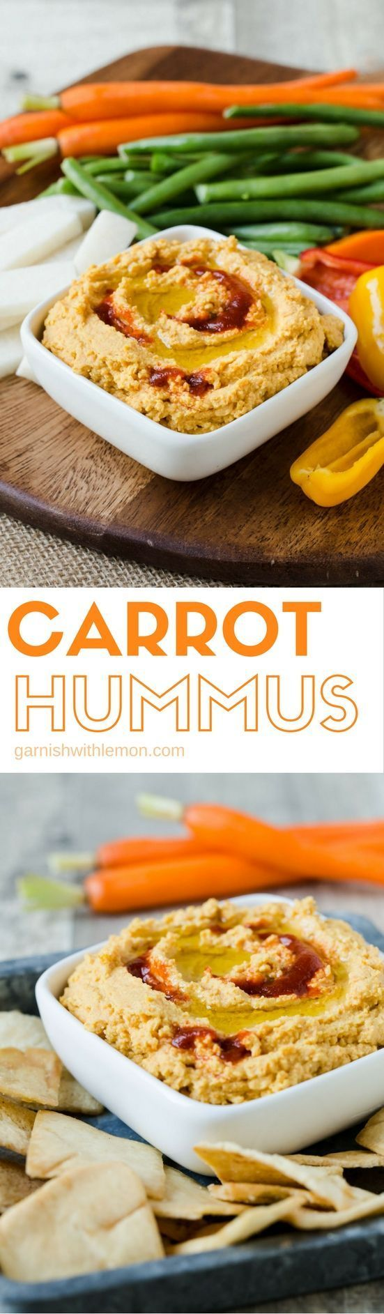 Make your veggie tray the star of the party with this make-ahead Carrot Hummus recipe.
