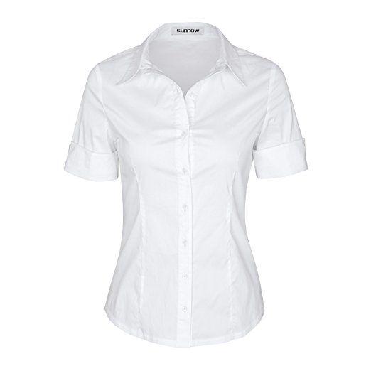 SUNNOW Blouse Femme Chemisier Elégant Manche Courte - Col V - Haut - Workwear Ladies (FR38, Blanc)
