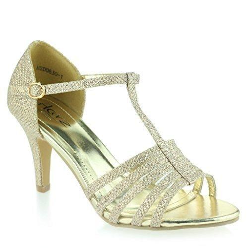 Oferta: 32.99€. Comprar Ofertas de Mujer Señoras Punta Abierta T Bar Delgado Tacón Medio Noche Fiesta Boda Prom Champán Sandalias Zapatos Talla 38 barato. ¡Mira las ofertas!