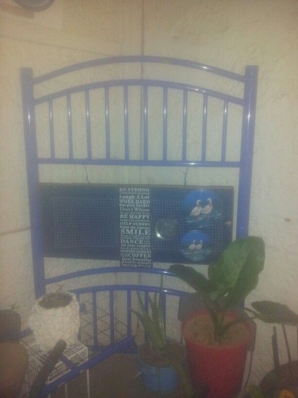 Upcycled bed ends & hanging cupboard door.
